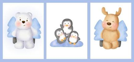 Set of birthday cards with cute arctic animals in water color style. vector