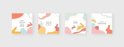 Happy easter template. Trendy editable social media post template. Mockup isolated. Template design. Vector illustration.