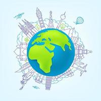 concepto de vector de viajes mundiales. ilustración con vistas