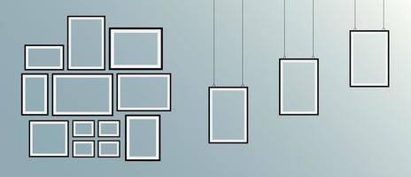 Set of realistic black picture frames vector