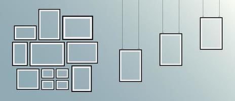 conjunto de marcos de cuadros negros realistas vector