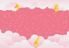 Rainy Day and lightning in clouds, vector illustration. on abstract background. Paper art vector illustration