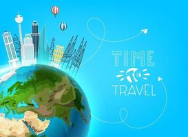 Travel destination concept. Vector illustration with the Earth