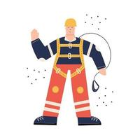 Industrial Worker in safety harness ready to work at height vector