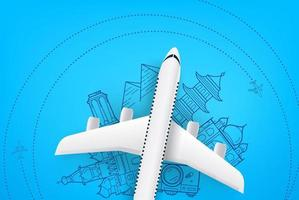 Airplane model with doodling elements. Vacation concept vector