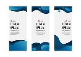 Vertical banners template set, abstract blue liquid shapes wavy with place for text and logo, template design vector illustration
