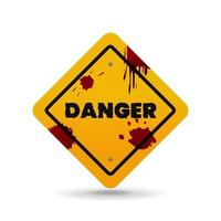 Yellow danger sign with blood stains, vector illustration on white background