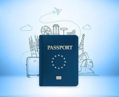 Ilustración de viaje con pasaporte y elementos de doodle. ilustración vectorial con monumentos famosos vector