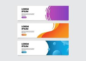 Abstract web banner design templates set, horizontal banner with click here button, vector illustration