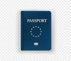 Ilustración de vector de pasaporte aislado sobre fondo transparente