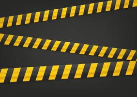 Yellow and black tape on black background vector