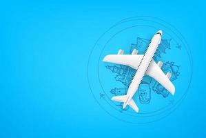 Adventure time concept with aircraft model with copy space vector