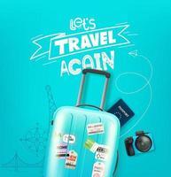 Ilustración de viaje con equipaje e inscripción de letras. vector