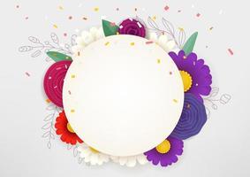 Empty floral circle frame vector concept