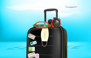 Summer travel concept with baggage, camera, protective mask. Summer 2021 vector