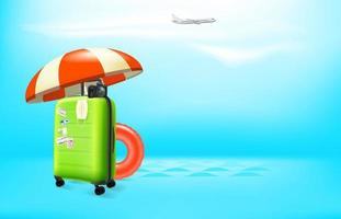 Vacation in pandemic. Concept with color plastic suitcase and protection mask. Vector banner with copy space for a text