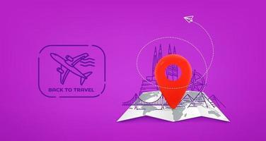 Ilustración de viaje con pin rojo y sello. volver a viajar