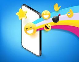 Modern smartphone with rainbow and different emoji. Using social media concept vector