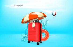 Vacation in pandemic. Concept with red plastic suitcase and protection mask vector
