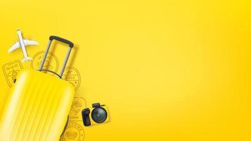 Ilustración de viaje con bolsa amarilla, modelo de avión y sellos. ilustración laicos plana vector