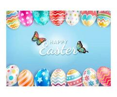 Happy Easter day with butterfly background. Vector illustrations.
