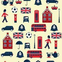 patrón sin fisuras con símbolos en inglés. cabaña, corona, telefono, bus. vector