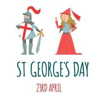 St. George's day card. Knight and princess. Vector illustration.