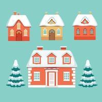Winter set of cottages under snow and spruce on blue background. Vector illustration.