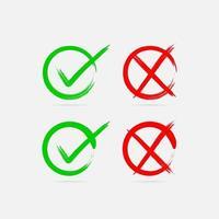 vectores de diseño de marca de verificación correctos e incorrectos