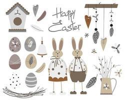 lindo juego de pascua escandinavo con conejito, conejo, sauce, huevos, casita para pájaros, campana, nido, guirnalda, plumas y el texto 'felices pascuas'. vector
