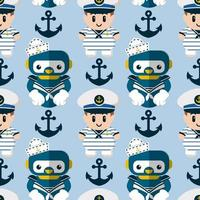 Seamless pattern robot and cute sailor vector