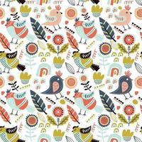 Cute seamless pattern with birds vector