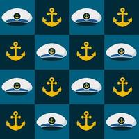 Seamless pattern hat and anchor nautical. nautical clip art vector