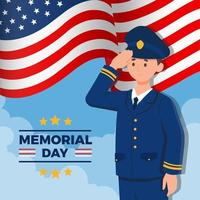 Young Male Officer Saluting During Memorial Day vector