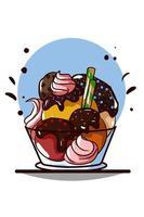 helado con crema de chocolate con barquillos y galleta en un bol vector