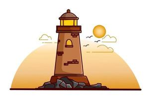 Lighthouse illustration at the afternoon vector