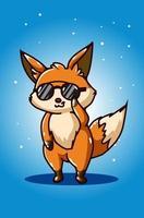 Cool fox wearing sunglasses vector