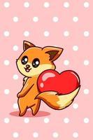 caricatura kawaii con una ilustración de corazón, día de san valentín vector