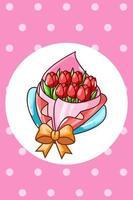 Tulip bouquet in valentine's day cartoon illustration vector