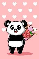 A cute and happy panda carrying a bouquet of flowers cartoon illustration vector