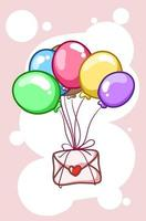 A love letter with balloons cartoon illustration vector