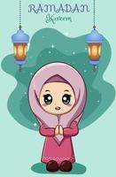 Little happy muslim girl at ramadan kareem cartoon illustration vector