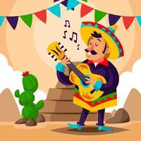 Man Wearing Mexico Traditional Clothes Playing Guitar vector