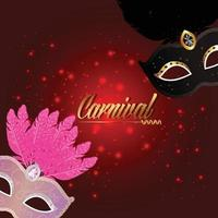 Carnival greeting card with with creative mask on red background vector