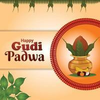 feliz tarjeta de felicitación del festival indio gudi padwa con kalash vectorial vector
