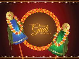Ilustración de festival de vector con kalash tradicional y frutas y fondo