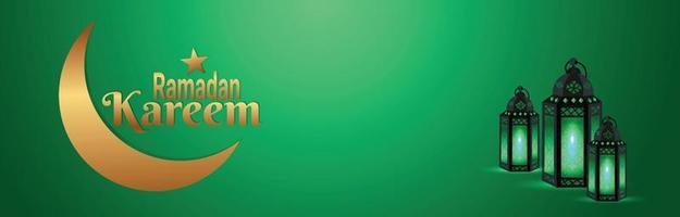 banner del festival islámico de Ramadán con linterna árabe vector