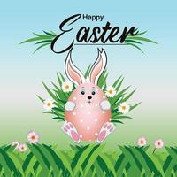 Happy easter background with cute bunny with green garden vector