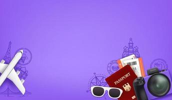fondo violeta con personal de viaje diferente. pasaporte, cámara digital, entradas, gafas de sol vector