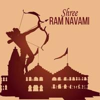Happy ram navami greeting card with illustration of lord rama vector